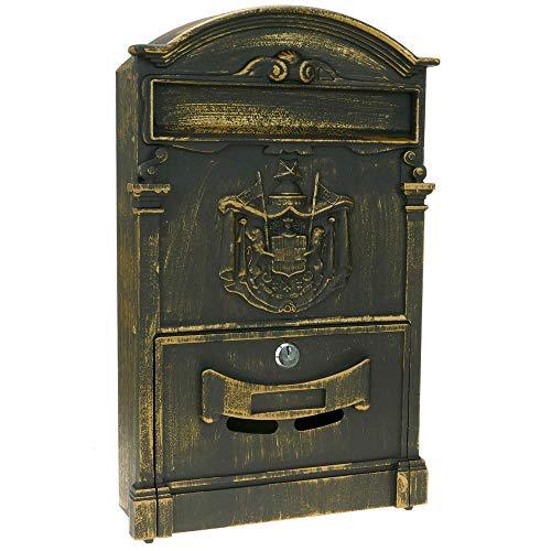 PrimeMatik Briefkasten Postkasten Retro Antik Vintage Gusseisen Schwarze Oxid f/ür wallmount Pferd