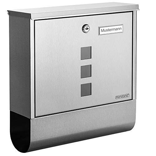 Monzana Design Briefkasten Stahl anthrazit mit Zeitungsfach Sichtfenster 2 Schl/üssel Namensschild Wandbriefkasten